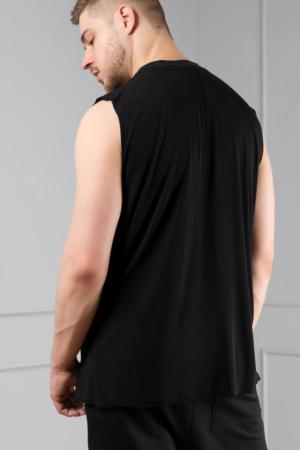 black bamboo men's sleeveless tee