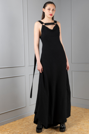 black cotton harness dress