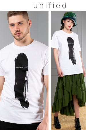 white unisex graphic-print t-shirt