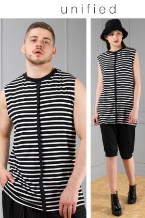 striped sleeveless unisex tee