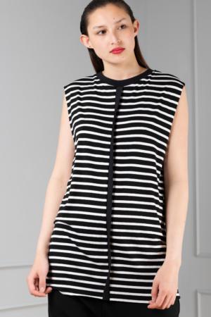 striped sleeveless women's tee
