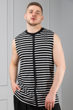 striped sleeveless men's tee