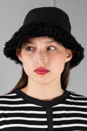 black chiffon bucket hat
