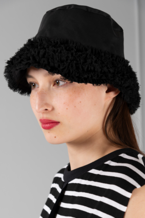 black chiffon women's bucket hat