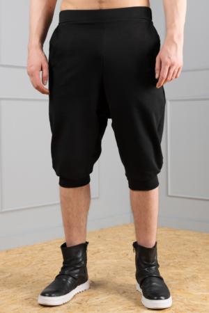black dropped crotch men's trousers
