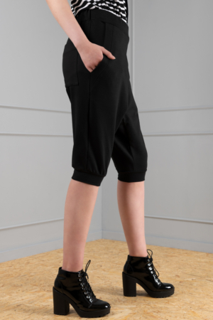 black dropped crotch women's trousers