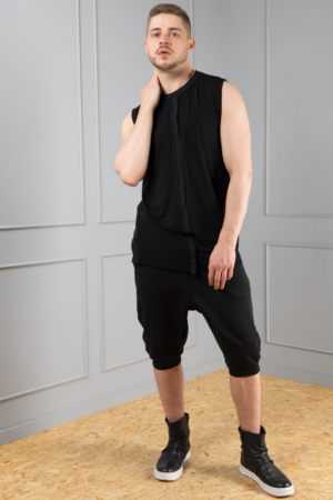 black dropped crotch unisex trousers