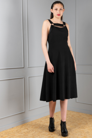 black ribbed harness dress