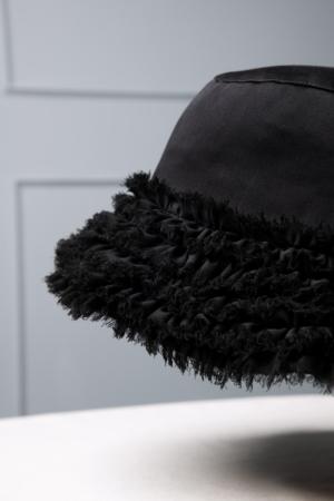 black chiffon men's bucket hat