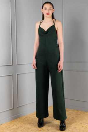 dark green backless jumpsuit