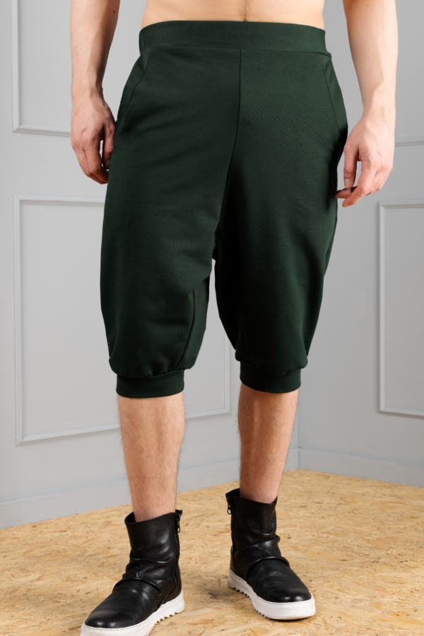 dark-green dropped crotch trousers