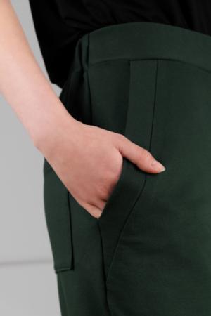 dark-green dropped-crotch women's trousers
