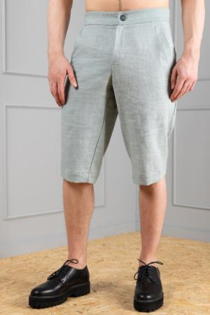 dusty-green linen long shorts