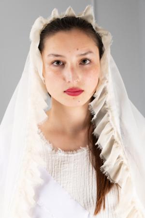 long off-white ruffled veil