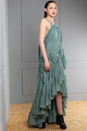 modern chiffon harness dress