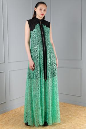 sea-green lace pinstripe dress