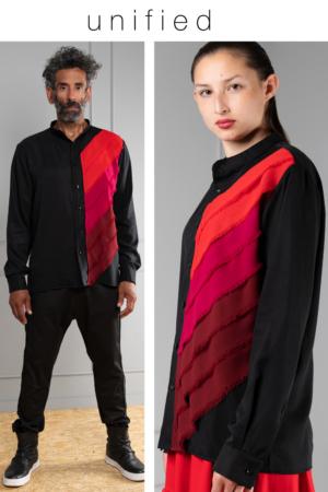 black Tencel unisex button-up shirt