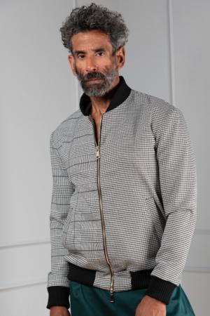 houndstooth men's bomber jacket