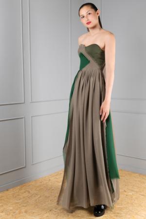 asymmetrical green corset dress