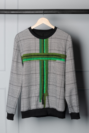 green cross houndstooth sweater