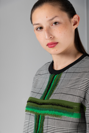 green-cross houndstooth women's sweater
