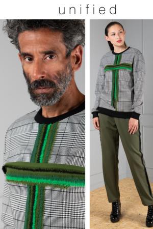 green cross houndstooth tartan sweater