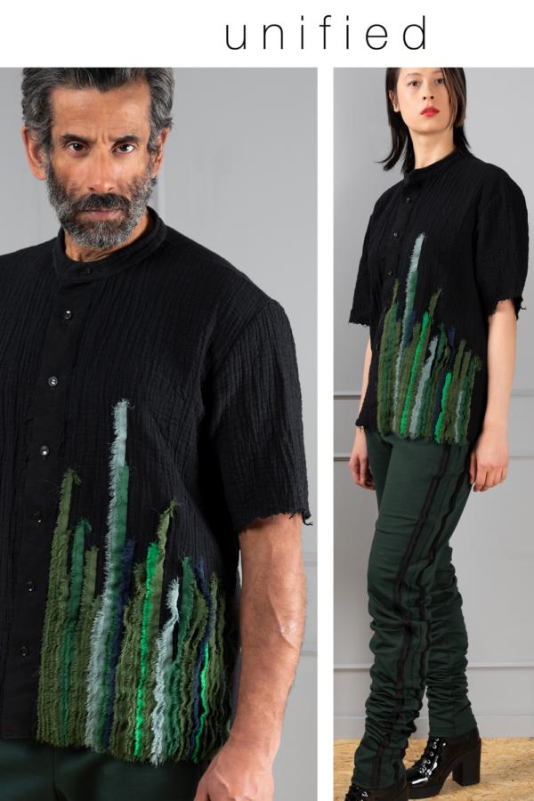 black stand-collarunisex shirt