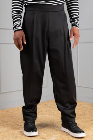 black unisex pleated trousers