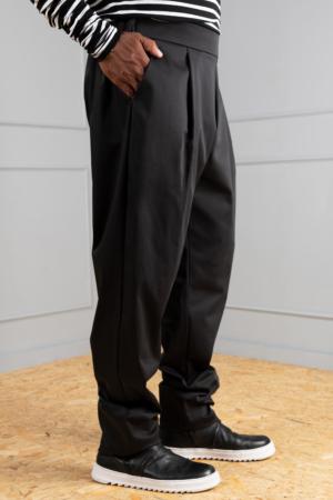 black men's pleated trousers