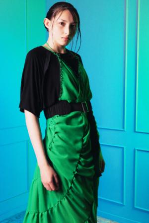 elegant green chiffon dress