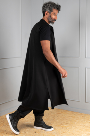 black men's button-up cardigan