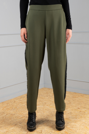 straight-leg olive unisex trousers