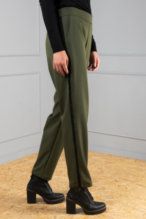 straight-leg olive women's trousers