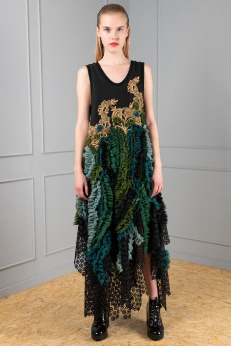 black-and-green gala dress