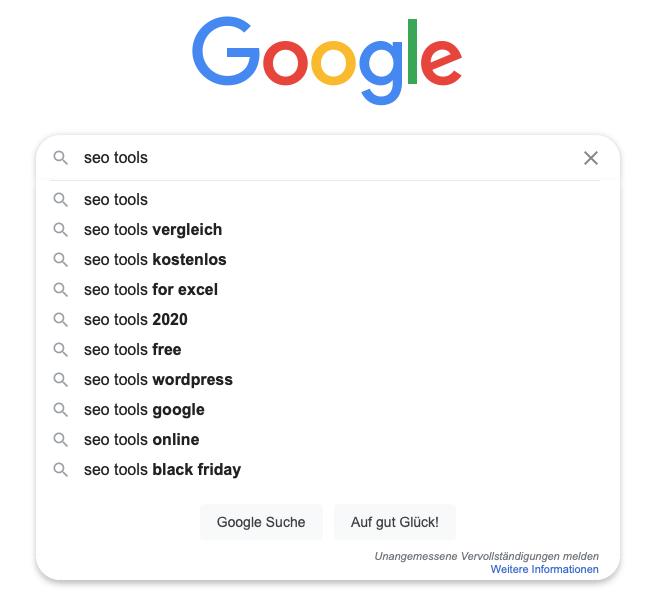 Keyword Analyse Google