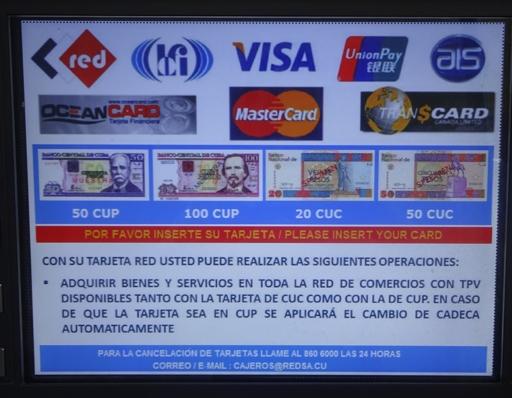 Anzeige an kubanischen Bankautomaten