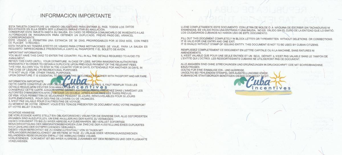 Rückseite der Touristenkarte Kuba mit Stempel des Verkäufers. Fehlt dieser, ist das Visum nicht gültig.