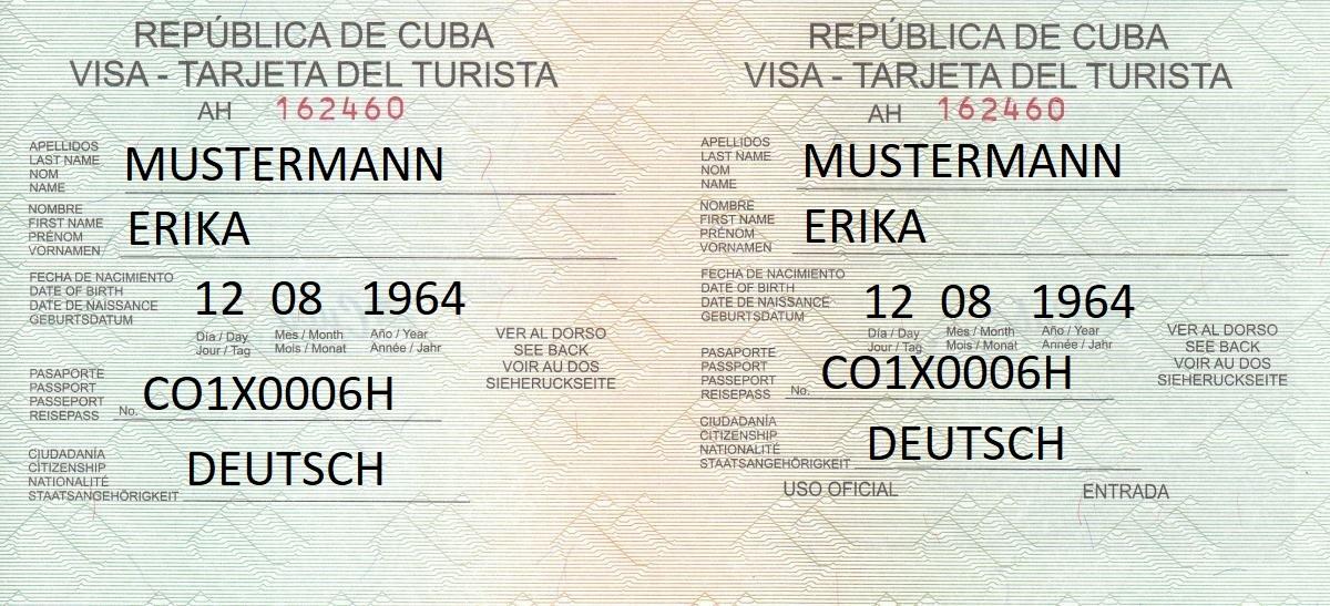 Touristenkarte Kuba richtig ausgefüllt mit den Daten von Erika Mustermann.