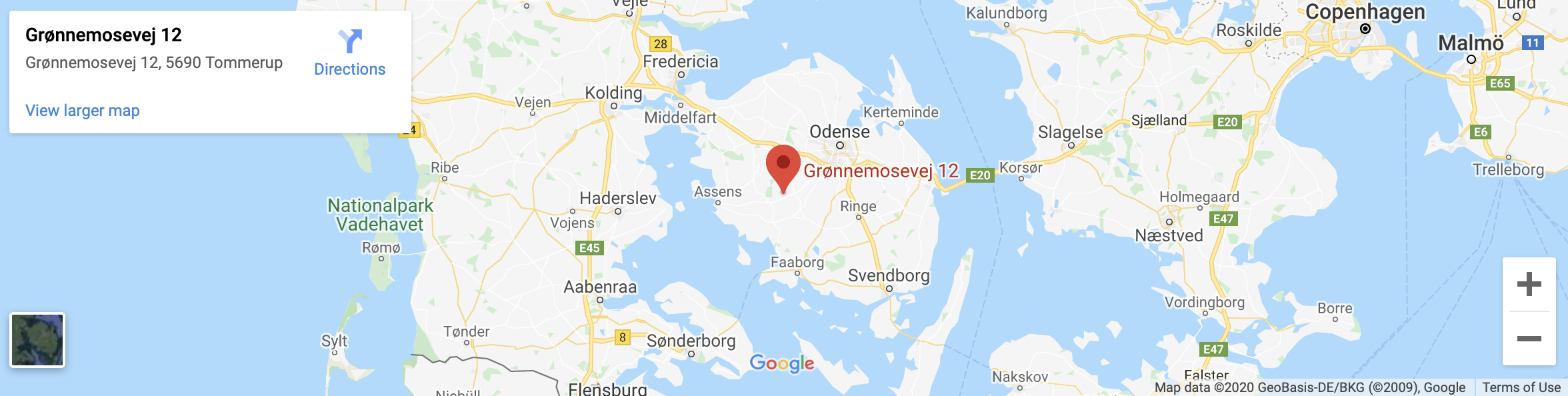 Google Map viser adresse for Havemand Fyn
