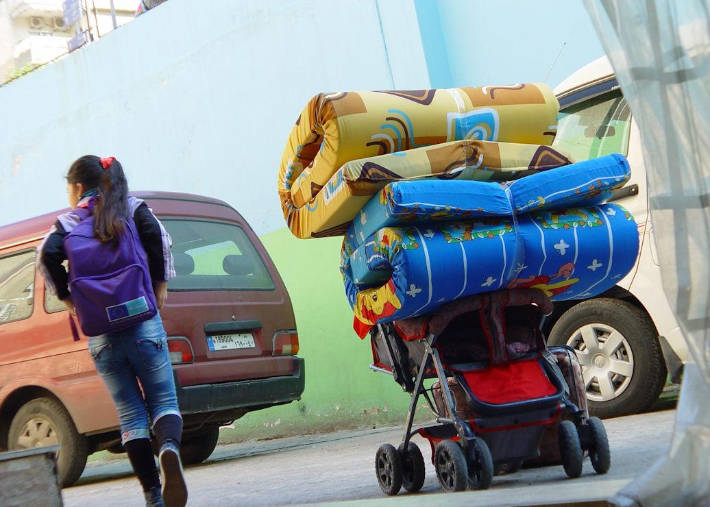 Child taking mattresses home