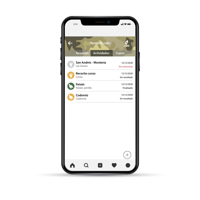 interfaz app cinegetica