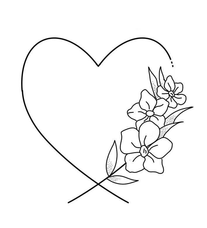 hart met bloem