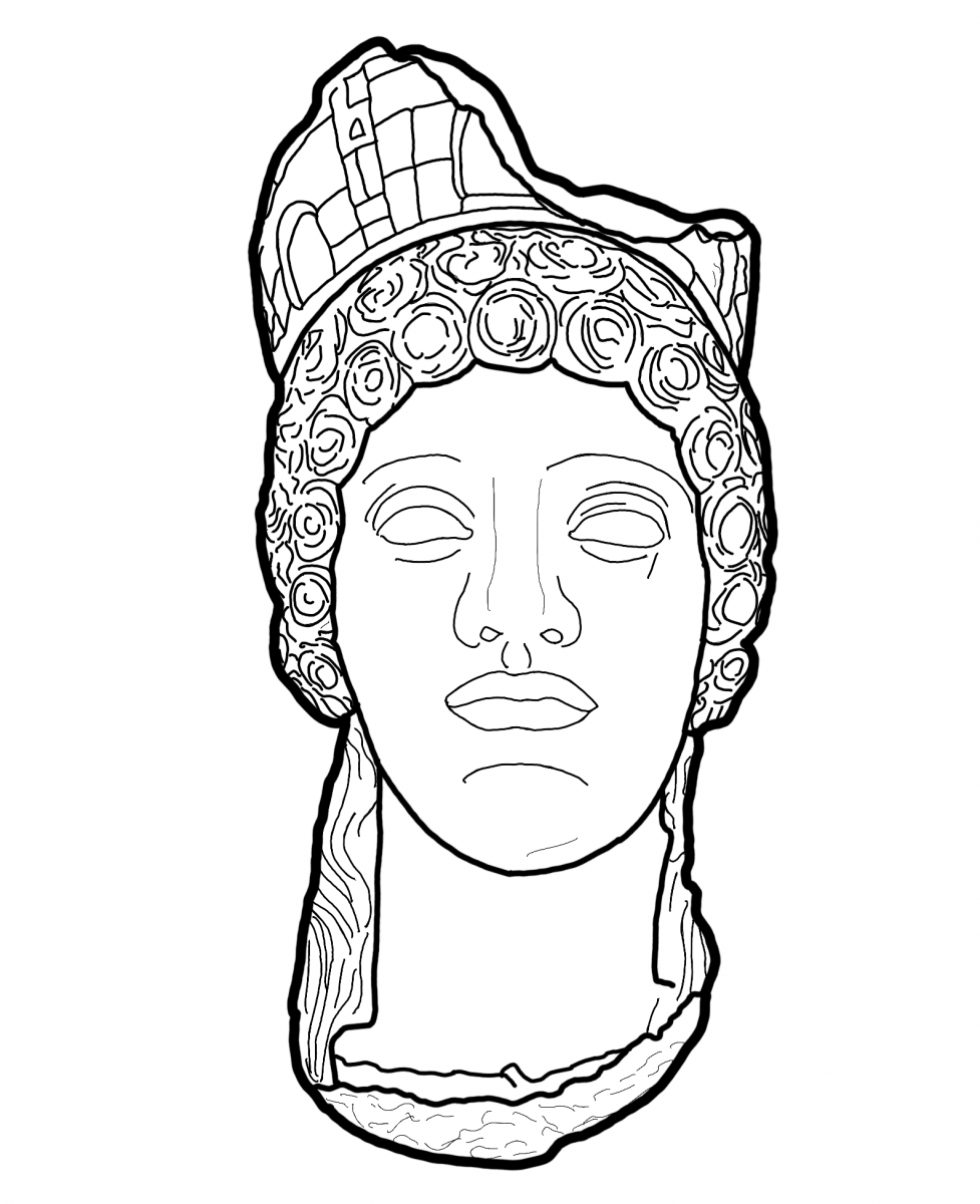 Roman goddess with a mural crown at the Glyptoteket
