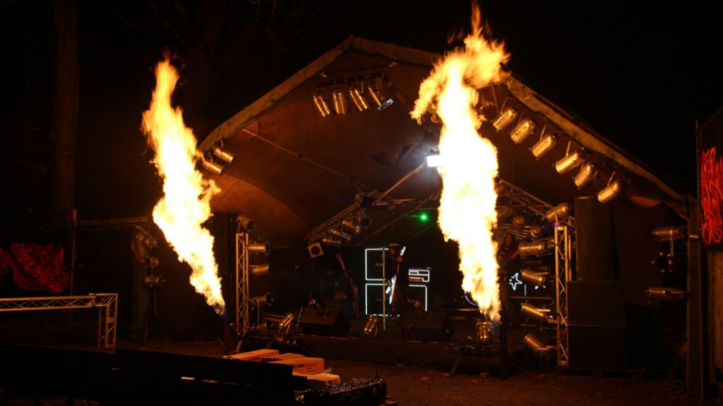 Clubhouse stage flames