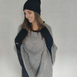 Sort hue i uld/silkeblanding
