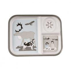 3-delt tallerken med dyr i sneen