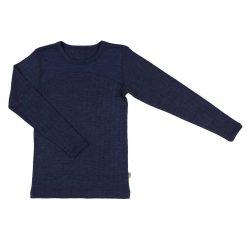 Langærmet undertrøje i merinould/silke fra Joha mørkeblå