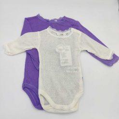 Joha body i merinould/silke i lavendel og hvid