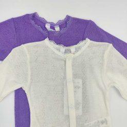 Joha heldragt i merinould/silke i lavendel og hvid