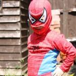Child dressed like spiderman